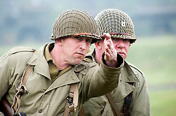 Reneactors portraying American forces during world war two takepart in a battle reenactment at Fort Paull Monday.7  May 2012.Image © Paul David Drabble