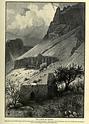 THE CLIFFS OF ENGEDI. [Ein Gedi] They form a very difficult pass, and the zigzag paths are not kept in repair. The surface of the limestone rock is of marble-like smoothness and a pale reddish tint is the prevailing colour. Wood engraving of from 'Picturesque Palestine, Sinai and Egypt' by Wilson, Charles William, Sir, 1836-1905; Lane-Poole, Stanley, 1854-1931 Volume 3. Published in by J. S. Virtue and Co 1883