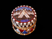 Mohawk quilled birchbark and sweetgrass basket with teepee and mountain design, circa 1940s.