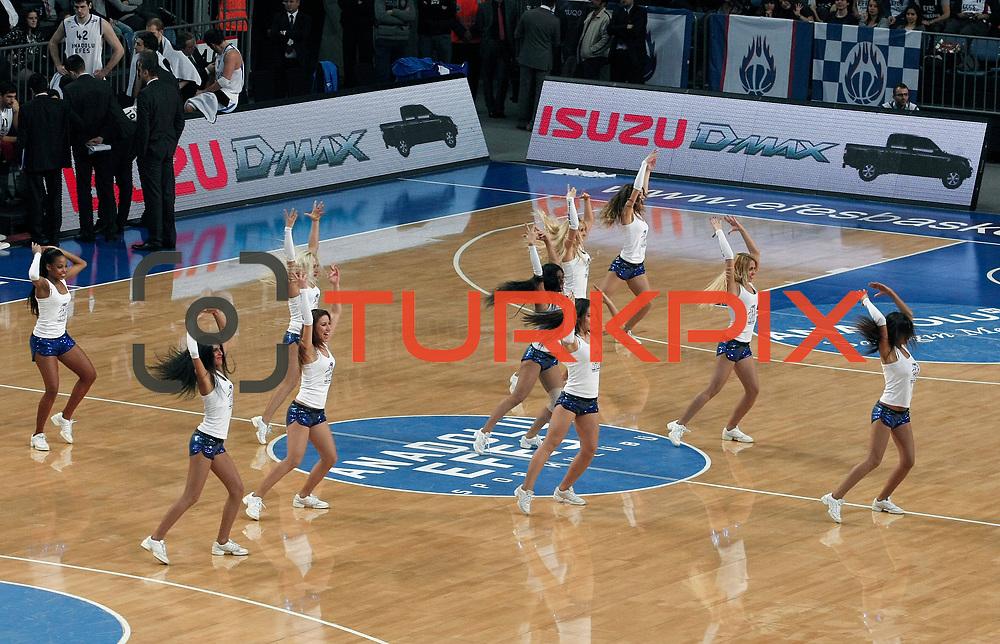 Anadolu Efes's show girls during their Turkish Basketball League match Anadolu Efes between Turk Telekom at Arena in Istanbul, Turkey, Wednesday, January 04, 2012. Photo by TURKPIX