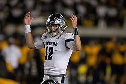 Nevada quarterback Carson Strong (12) gestures to the crowd during the fourth quarter of an NCAA college football game against California, Saturday, Sept. 4, 2021, in Berkeley, Calif. (AP Photo/D. Ross Cameron)