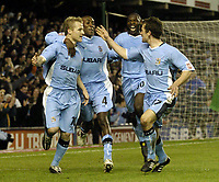 Photo. Glyn Thomas. <br /> Coventry City v Nottingham Forest. <br /> Coca Cola Championship. 06/04/2005.<br /> Coventry's Gary McSheffrey (L) celebrates after scoring from the penalty spot with (L-R) Dyer, Shaun Goater and Michael Doyle