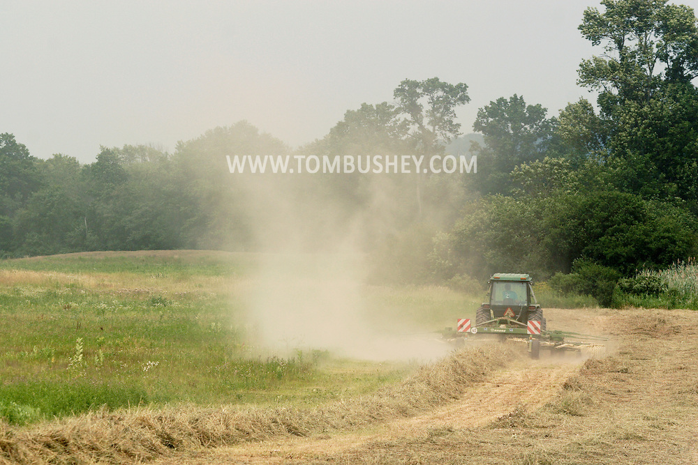 Goshen, NY - A dairy farmer on a tractor gets a field of cut grass ready to be harvested for hay on July 11, 2008. The tractor is pulling a hay tedder.
