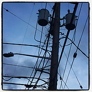 2018 MARCH 04 - Utility wires and dusky sky in Seattle, WA, USA. Taken/edited with Instagram App for iPhone. By Richard Walker