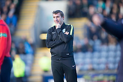 Hibernian's manager Alan Stubbs. <br /> Raith Rovers 1 v 2 Hibernian, Scottish Championship game played 24/10/2015 at Starks Park.
