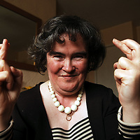 Susan Boyle has her fingers crossed ahead of the next stage of  The Britain's Got Talent contestan. Susan  from Blackburn, West Lothian became an overnight success with her performance of 'I Dreamed A Dream' from Les Miserables on the popular TV show...Pic shows Susan Boyle at her home in Blackburn, West Lothian on Friday 17th April 2009...Picture Richard Scott/Maverick