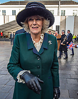 Camilla, Duchess of Cornwall during a visit to the market on February 11, 2020 in Leicester, United Kingdom. on the 11th February 2020 at Leicester Market, Leicester UK photo by Gary Mitchell