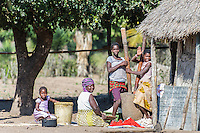 Mozambican family at their kraal, Limpopo floodplain, Maputo Province, Mozambique