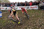Friday 1 November 2013: Klaas Vantornout (#2) leads Julien Taramarcaz (#23) and Bart Aernouts (#6) during the Koppenbergcross 2013 elite men's race. Copyright 2013 Peter Horrell