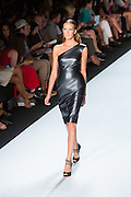 A black leather pne-shoudler dress. By Monique Lhuillier at Spring 2013 Fall Fashion Week in New York.