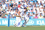 Jonny Bairstow of England ducks under a bouncer from Mitchell Johnson of Australia during the 3rd day of the Investec Ashes Test match between England and Australia at the Oval, London, United Kingdom on 22 August 2015. Photo by Phil Duncan.