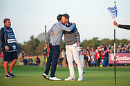 Bernd Wiesberger (AUT)(right) is congratulated by Benjamin Hebert (FRA)(left) after he wins the play-off of the Aberdeen Standard Investments Scottish Open at The Renaissance Club, North Berwick, Scotland on 14 July 2019.