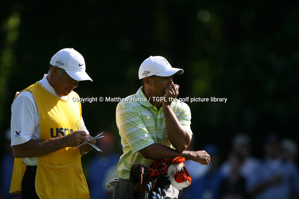 Tiger WOODS (USA) on his way to missing the cut for the first time as a pro;loosing his father and mentor Earl only shortly before certainly had a bearing on this happening,during first round US Open 2006,Winged Foot,New York,USA.