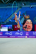 Zhumatayeva Selina during the qualication of hoop at the Pesaro World Cup 2018. Selina come from Kazakhstan, she is born in Tashkent in 1998.