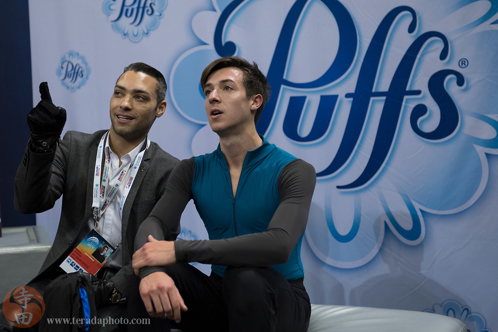 January 4, 2018; San Jose, CA, USA; Sebastien Payannet in the kiss and cry in the mens short program during the 2018 U.S. Figure Skating Championships at SAP Center.