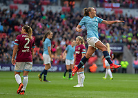 Football - 2019 SSE Women's FA Cup Final - Manchester City vs. West Ham United<br /> <br /> Georgia Stanway (Manchester City) leaps into the air after scoring the decisive second goal at Wembley Stadium.<br /> <br /> COLORSPORT/DANIEL BEARHAM