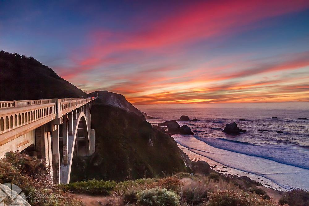Rocky Creek Bridge on the Big Sur Coast, Highway 1, California at Sunset
