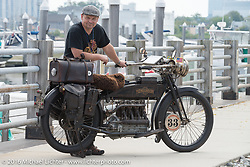 Andy Kaindl of Germany with his 4-cylinder 1915 Henderson class-2 motorcycle before the start of the Motorcycle Cannonball Race of the Century Run. Atlantic City, NJ, USA. September 9, 2016. Photography ©2016 Michael Lichter.