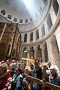 Israel, Jerusalem Old City, a prayer at the Church of the Holy Sepulchre on Good Friday. Easter 2005, the procession,