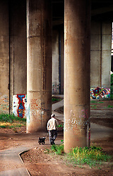 Walking a dog on a footpath between the pillars that support an elevated section of the M6 motorway, Birmingham, England, UK.