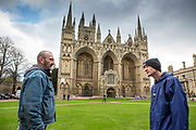 Rob and Ian  outside Peterborough Catherdral. They were both living on the streets of Peterborough for a number of years.  With the help of Hope into Action they are now settled into safe and secure housing and are building connections with their families. Peterborough, Cambridgeshire. UK