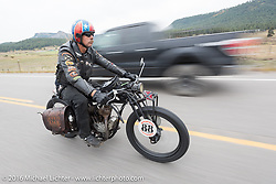 Doug Wothke of Alabama, an experienced long distance rider who has ridden a 1948 Indian Chief around the world as well as a 1962 Panhead chopper around the world, here riding his 1916 Indian down the west side of Wolf Creek Pass during the Motorcycle Cannonball Race of the Century. Stage-10 ride from Pueblo, CO to Durango, CO. USA. Tuesday September 20, 2016. Photography ©2016 Michael Lichter.