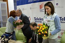 Sonja Roman, Martin Steiner, Boris Mikuz and Marija Sestak at welcome press conference after European Athletics Indoor Championships Torino 2009, AZS, Ljubljana, Slovenia, on March 9, 2009. (Photo by Vid Ponikvar / Sportida)