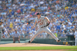 Sep 20, 2014; Kansas City, MO, USA; Detroit Tigers starting pitcher Max Scherzer (37) delivers a pitch in the first inning against the Kansas City Royals at Kauffman Stadium. Mandatory Credit: Denny Medley-USA TODAY Sports