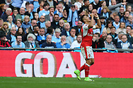 Alexis Sanchez of Arsenal © celebrates after he scores his teams 2nd goal in the 1st period of extra time. The Emirates FA Cup semi-final match, Arsenal v Manchester city at Wembley Stadium in London on Sunday 23rd April 2017.<br /> pic by Andrew Orchard,  Andrew Orchard sports photography.