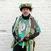 A musician from the Makara Morris Men at an orchard-visiting wassail in Kilham village, Yorkshire Wolds, UK on 21st January 2017. Wassail is a traditional Pagan winter celebration in cider-producing regions of England, reciting incantations and singing to the trees to promote a good harvest for the coming year. Pieces of toast soaked in cider are hung in the branches to attract robins to the tree as these are said to be the good spirits of the orchard. To ward off evil spirits, villagers scare them away by banging pots and pans and making as much noise as possible