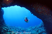 diver swims through coral-encrusted lava arch, Black Sand Arch, Kaupulehu, Kona, Hawaii ( the Big Island), United States ( Central Pacific Ocean ) MR 286