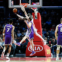 12 October 2017: LA Clippers center Willie Reed (35) goes for the reverse layup past Sacramento Kings center Kosta Koufos (41) during the LA Clippers 104-87 victory over the Sacramento Kings, at the Staples Center, Los Angeles, California, USA.