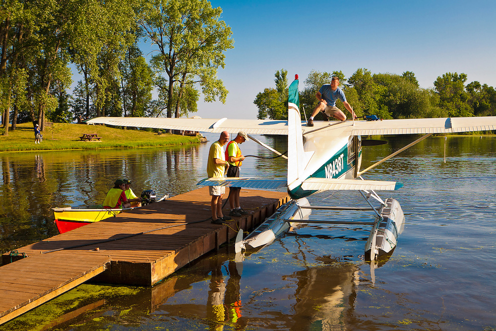 Refueling a Cessna at the Seaplane Base during AirVenture in Oshkosh, Wisconsin.