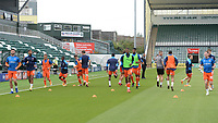 Blackpool players during the pre-match warm-up <br /> <br /> Photographer Ian Cook/CameraSport<br /> <br /> The EFL Sky Bet League One - Plymouth Argyle v Blackpool - Saturday September 12th 2020 - Home Park - Plymouth<br /> <br /> World Copyright © 2020 CameraSport. All rights reserved. 43 Linden Ave. Countesthorpe. Leicester. England. LE8 5PG - Tel: +44 (0) 116 277 4147 - admin@camerasport.com - www.camerasport.com