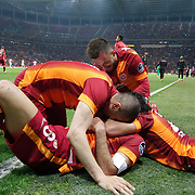 Galatasaray's Selcuk Inan celebrate his goal with team mate during their Turkish Super League soccer match Galatasaray between TorkuKonyaspor at the AliSamiYen Spor Kompleksi TT Arena at Seyrantepe in Istanbul Turkey on Friday, 08 May 2015. Photo by Kurtulus YILMAZ/TURKPIX