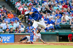 May 7, 2018 - Arlington, TX, U.S. - ARLINGTON, TX - MAY 07: Texas Rangers catcher Robinson Chirinos (61) chases an errant throw to home plate during the game between the Texas Rangers and the Detroit Tigers on May 07, 2018 at Globe Life Park in Arlington, Texas. Texas defeats Detroit 7-6. (Photo by Matthew Pearce/Icon Sportswire) (Credit Image: © Matthew Pearce/Icon SMI via ZUMA Press)