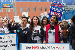 © Licensed to London News Pictures. 12/01/2016. London, UK.  The NHS choir joins junior doctors and supporters at the picket outside the Royal London Hospital in Whitechapel, east London. Junior doctors across England are taking strike action today after talks failed between the British Medical Association (BMA), NHS bosses and Health secretary, Jeremy Hunt regarding a new contract, weekend pay and working hours. Photo credit : Vickie Flores/LNP