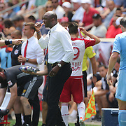 HARRISON, NEW JERSEY- JULY 24: NYCFC coach Patrick Vieira argues with referee Mark Geiger during a water break before being sent off during the New York Red Bulls Vs New York City FC MLS regular season match at Red Bull Arena, Harrison, New Jersey on July 24, 2016 in Harrison, New Jersey. (Photo by Tim Clayton/Corbis via Getty Images)