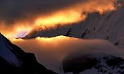 Break in monsoon cloud at sunset, Chamlang from Mingbo valley, Barun Makalu National Park, Nepal Himalaya