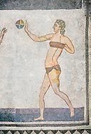 Roman mosaic of a young women exercising with a ball from  the Room of the Ten Bikini Girls, room no 30, from the Ambulatory of The Great Hunt, room no 28,  at the Villa Romana del Casale which containis the richest, largest and most complex collection of Roman mosaics in the world. Constructed in the first quarter of the 4th century AD. Sicily, Italy. A UNESCO World Heritage Site. .<br /> <br /> If you prefer to buy from our ALAMY PHOTO LIBRARY  Collection visit : https://www.alamy.com/portfolio/paul-williams-funkystock/villaromanadelcasale.html<br /> Visit our ROMAN MOSAICS  PHOTO COLLECTIONS for more photos to buy as buy as wall art prints https://funkystock.photoshelter.com/gallery/Roman-Mosaics-Roman-Mosaic-Pictures-Photos-and-Images-Fotos/G00008dLtP71H_yc/C0000q_tZnliJD08
