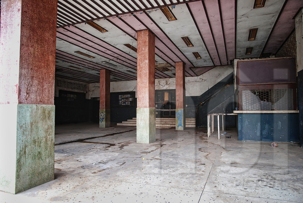 Entry hall and box office in the abandoned cinema of Bouasavanh, Vientiane, Laos, Asia