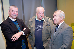"""Aleksander Lucu (middle) and Tine Srot at presentation of a new book of one of the best Slovenian gymnast Miro Cerar named """"Miroslav Cerar in njegov cas - Miroslav Cerar and his time"""" at his 70 years anniversary, on October 30, 2009, in Hotel Mons, Ljubljana, Slovenia.   (Photo by Vid Ponikvar / Sportida)"""