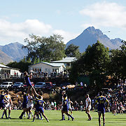 Adam Thomson, Otago, wins a line out during the Otago Highlanders V Waikato Chiefs, pre season Super 15 rugby match at the Queenstown Recreation Ground, Queenstown, Otago, New Zealand. 11th February 2012. Photo Tim Clayton
