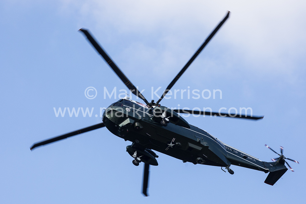One of President Biden's VH-3D Sea King helicopters, known as Marine One, is pictured approaching Windsor Castle on 13th June 2021 in Windsor, United Kingdom. President Biden and First Lady Jill Biden were welcomed by the Queen at Windsor Castle following the G7 summit with a Guard of Honour followed by afternoon tea.