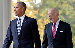 U.S.President Barack Obama (L) walks out of the Oval Office with Vice President Joe Biden to make remarks on Republican President-elect Donald J. Trump's presidential victory over Former Secretary of State Hillary Clinton, at the White House, November 9, 2016, in Washington, DC. Obama invited Trump to visit the White House and promised a smooth transition. Photo by Mike Theiler/Pool/ABACAPRESS.COM