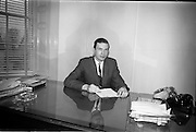 04/03/1964<br /> 03/04/1964<br /> 04 March 1964<br /> Smith Kline and French Laboratories personnel at Smith Kline and French Laboratories Ltd, Ashgrove, Dun Laoghaire Co. Dublin. Picture shows Mr. J. Keough at his desk.