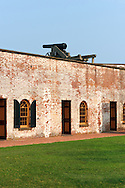 A canon on the walls of Fort Macon - an American Civil War Fort in Fort Macon State Park on the eastern end of Emerald Isle and Bogue Banks at Beaufort Inlet, North Carolina
