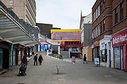 A quiet Coventry city centre during the pandemic on the 28th of April 2021, Coventry, United Kingdom. Coventry has been nominated the UK City of Culture for 2021.