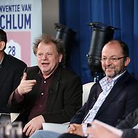 Nederland, Achlum , 28 mei 2011..Conventie van Achlum..Achmea bestaat dit jaar 200 jaar. In dit jubileumjaar gaat Achmea terug naar haar roots: het Friese dorpje Achlum. Op 28 mei vindt daar de Conventie van Achlum plaats. Zo'n 2000 mensen gaan daar met elkaar in gesprek over de toekomst van Nederland binnen de thema's: veiligheid, mobiliteit, arbeidsparticipatie, pensioen en gezondheid. Dit doen we met top sprekers uit de politiek en wetenschap maar ook met mensen zoals jij..Op de foto v.l.n.r. opinipijler Hans anker Bas Heijne, Paul Schnabel en Willem van Duin bestuursvoorziter Achmea .Foto:Jean-Pierre Jans