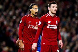 Virgil van Dijk of Liverpool looks on at Andrew Robertson of Liverpool - Mandatory by-line: Robbie Stephenson/JMP - 02/12/2018 - FOOTBALL - Anfield - Liverpool, England - Liverpool v Everton - Premier League